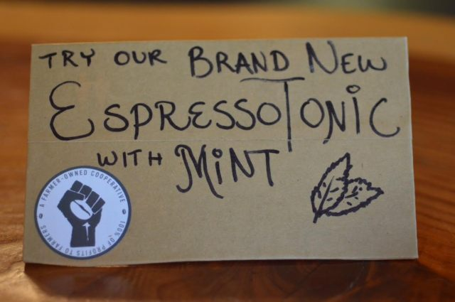 espresso tonic with mint sign